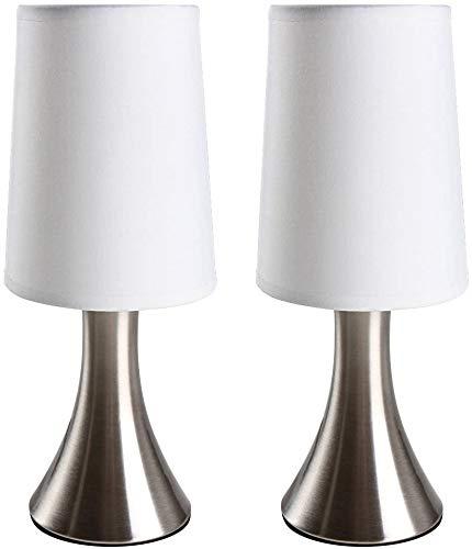 Lámpara de mesita de noche de mesa, juego de 2 unidades, modelo de diseño con función táctil y 3 niveles de luz regulables, E14, diseño clásico, lámpara de mesita de noche, lámpara de mesa