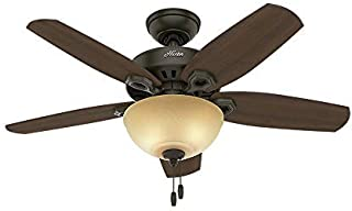 Hunter Indoor Ceiling Fan with light and pull chain control - Builder 42 inch, New Bronze, 52218