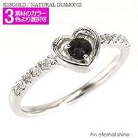 [エターナルジェム] オニキス ダイヤモンドリング 0.1ct 18金 一粒 ハート ピンキーリング ファランジ指輪 レディース K18ピンクゴールド 3