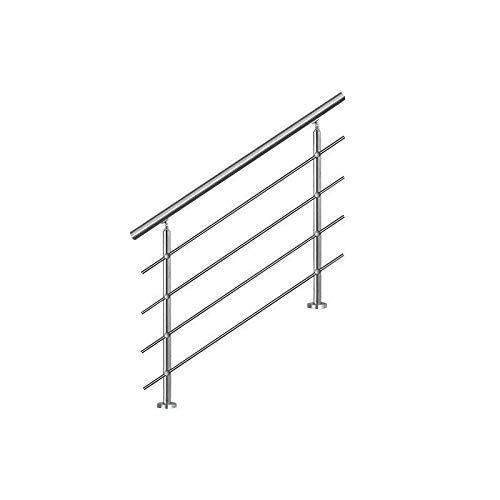 Bc-elec - AHM1004 Treppenhandlauf 100cm, Balkon, Balustrade, Edelstahlgeländer mit 4 Querstäben, Flache oder geneigte Montage
