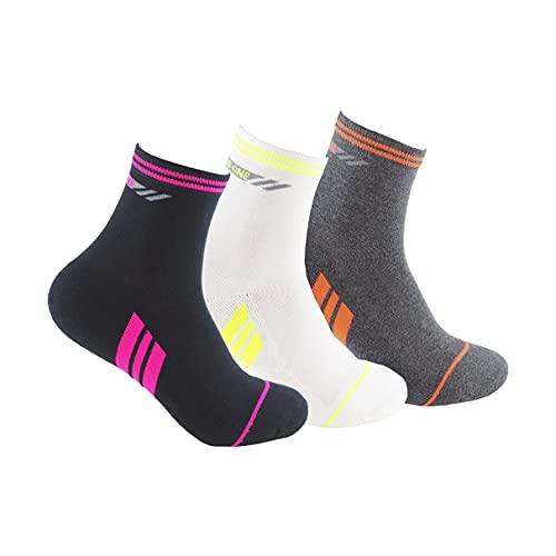 Calcetines deportivos SIN COSTURAS (3 pares) ideales para deportes como running, ciclismo, pádel, crossfit; Calcetines de deporte de alto rendimiento para mujer cómodos y resistentes (35-40, BL Ng Gr)