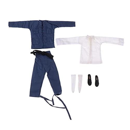 SM SunniMix 1: 6 Bruce Lee Chinese Kongfu Costum Conjunto de Ropa Tang Suit para HT Toy 12in Masculina Piezas de Soldado - Azul
