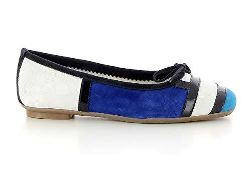 Reqins Ballerine HONDRIANE Blanc Bleu Electrique (Numeric_39)