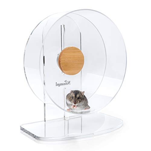 Niteangel Silent Hamster Exercise Wheel: - Dual-Bearing Quiet Spinning Acrylic Hamster Running Wheel for Dwarf Hamster Gerbils Mice Degus Or Other Small Animals (S)