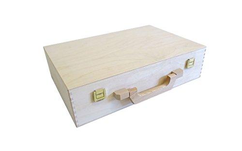 KF-Holz Holzkoffer, Aktenkoffer, Bastelkoffer, Malkoffer 36 x 24 x 9 cm