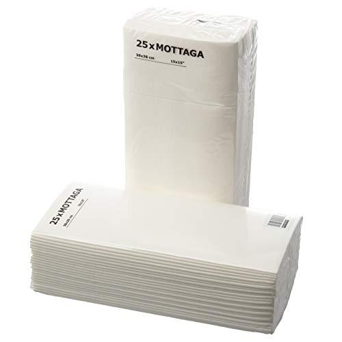IKEA Motaga Papierservietten, dick, 38 x 38 cm, Weiß, 50 Stück