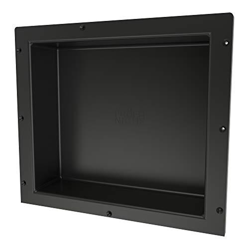 Redi Niche - Estante de Ducha empotrable, Color Negro, un Estante Interior, 40,6 cm de Ancho x 35,5 cm de Alto x 10,1 cm de Profundidad