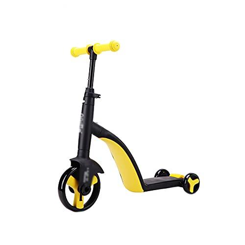 CREACEC Kinder Roller,Balance Auto Roller Baby Multifunktions Dreirad 3 in 1 Baby Auto Kinderwagen Räder Fahrrad Kinder Spielzeug Geschenke,Gelb