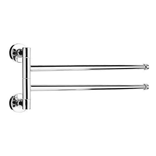 LIAWEI Toallero giratorio de acero inoxidable para baño, toallero de pared con 2 barras giratorias, soporte para toallas para cocina, baño, inodoro