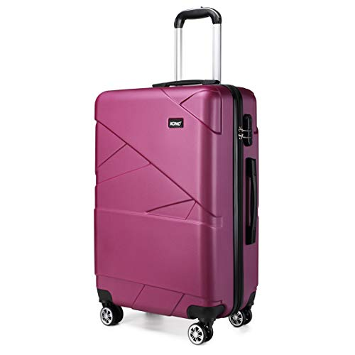 Kono 24 Inch Medium Luggage Super Lightweight PC Hard Shell Trolley Travel Case with 4 Wheels Suitcase (24', Purple)