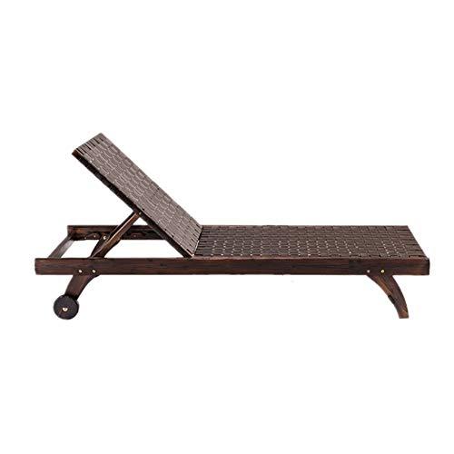 Chaise longue da esterno in legno di acacia, cuscino dello schienale regolabile, finitura naturale, mobili da giardino per la piscina da piscina Sedie da giardino in teak per patio a bordo piscina