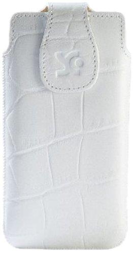 Suncase Original Echt Ledertasche für BlackBerry Z10 croco-weiß