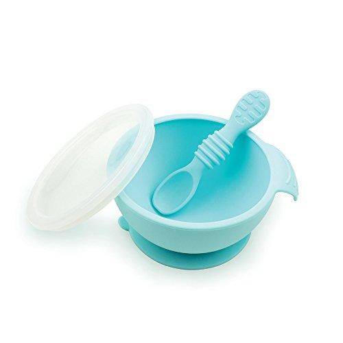 Bumkins BUMKFFL-BLU Baby-Fütterset mit Saugnapf, Schüssel, Deckel, Löffel, BPA-frei, zum ersten Füttern, Baby Led Entwöhnen, blau, 250 g