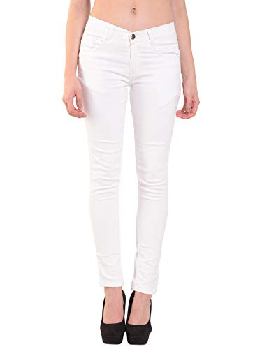 RESBO Women's Denim Mid Rise Stretchable Jeans (PLNRB, White, 34)