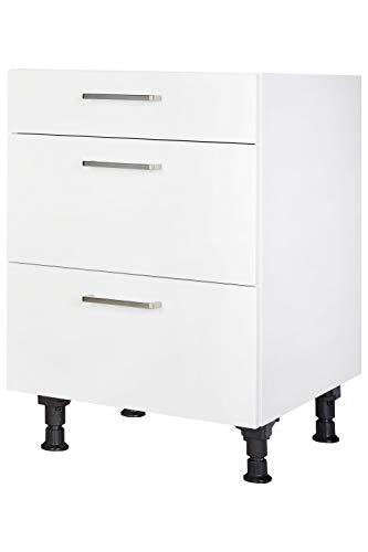 Küchen Unterschrank 60cm in Weiß mit Schubladen Küchenblock Küchenzeile nobilia