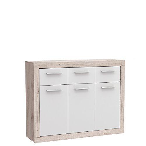 FORTE Baccio Kommode, Holz, sandeiche / weiß, 117.90 x 34 x 91.50 cm