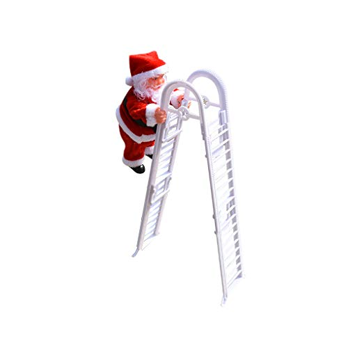 Laileya Electric Climbing Toy Santa Claus Doll Figure Christmas Ornent with Music, Climbing Ladder