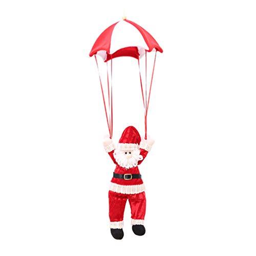 Amosfun Christmas Parachute Santa Claus Doll Ornament Christmas Tree Decorations Ornaments (Red White)