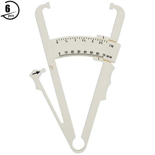 Aeloa 6PCS/Set Body Fat Caliper Tester, Fitness-Hautfalten-Toolkit für genaue Messungen(Weiß)