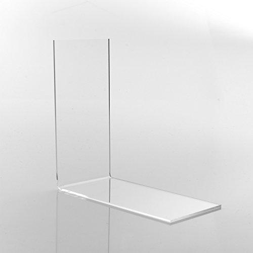 10 Stk. Buchstütze ECO (7.0 x 14.0 x 14.0 cm) Winkelbuchstütze/Buchhalter für kleine Bücher/Taschenbücher CDs aus original PLEXIGLAS® (10er Pack)