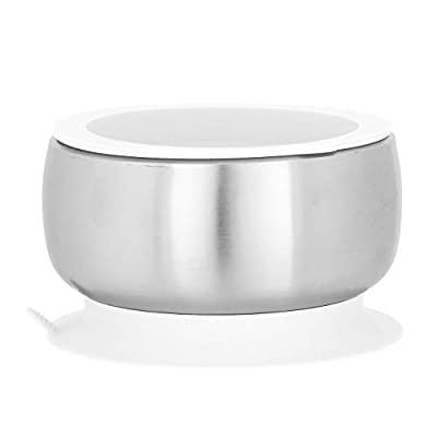 Avanchy Baby Toddler Feeding | Stainless Steel Stay Put Bowl Suction + Soft Container Safe Lid Set | BPA Free | Great Infant Gift Pack (White)
