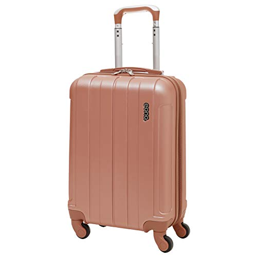 EONO 55x35x20cm ABS Hard Shell Travel Trolley Carry On Hand Cabin Luggage Suitcase with 4 Wheels, Rose Gold