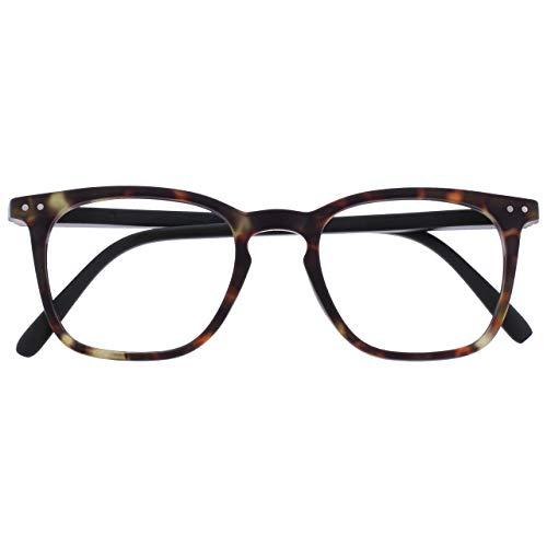 Opulize Bex Hombres Gafas De Lectura Grande Estilo Diseñador Carey Marrón Mate R64-2 +2,00