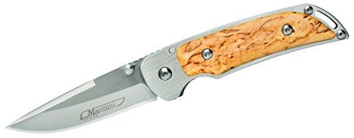 Marttiini MFK2, Stahl 420JS, Liner Lock, Beiseitig Daumenpins, Maserbirke-Griffschalen, Edelstahlclip Einhandmesser