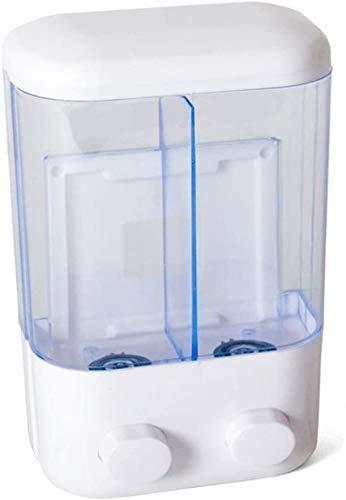 Dabuty Online, S.L. Dispensador de jabón Doble para Pared, Jabonera de loción líquido. Pared, Color Blanco, tamaño 14x7x22cm. Jabonera Gel liquido Manos para baño o Cocina