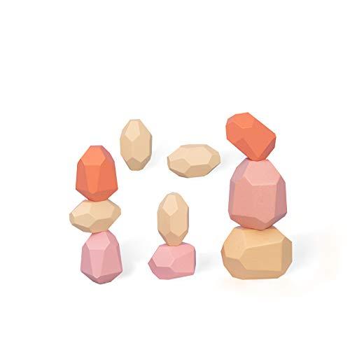 Wooden Colorful Stone Building Blocks Set, Natural Balancing Blocks Stacking Game kit Educational Block Puzzle Toys (10 Pack)