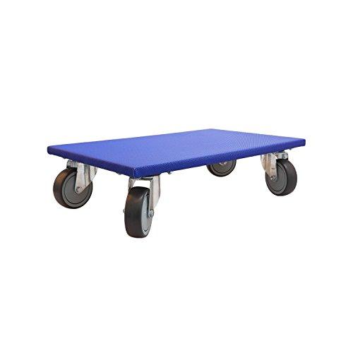 1 Profi Richel-Möbelroller Farbe: blau für Möbel, Kartons, Motoren, Werkzeug - Plattengröße 350 x 600 mm - mit 4fach Verschraubung der 360° Lenkrollen - Belastbar bis 300 kg - robuster Antirutschbelag