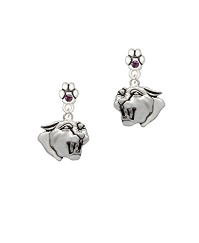 Large Panther - Mascot - Purple Crystal Paw Earrings