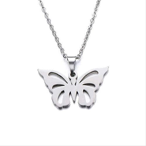 NC188 Collar de Acero Inoxidable para Mujer, Hombre, Amante, Colgante de Mariposa Hueca, Collar, joyería de Compromiso