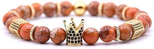 Pulsera de buena suerte Pulsera de piedra Mujer, 7 Chakra Natural Marrón Grieta Piedra Brazalete Brazalete Elástico Yoga Pulsera Pulsera Golden Crown Lucky Jewelry para mamá, novia Un gran regalo como