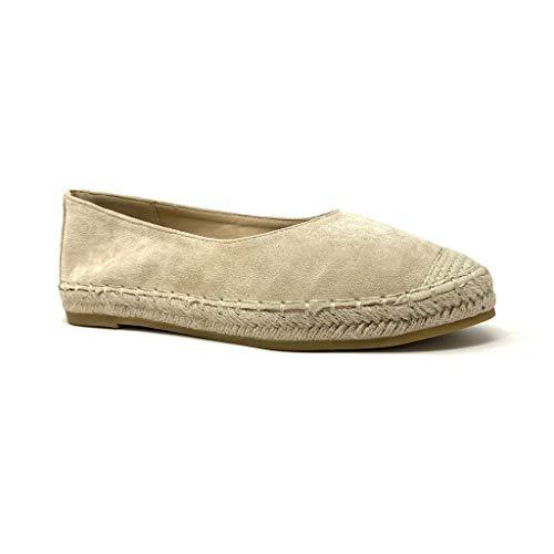 Angkorly - Damen Schuhe Espadrilles Ballerina - Folk/Ethnisch - Böhmen - Flache - Geflochten - mit Stroh - Basic Blockabsatz 2 cm - Beige CD-3 T 39