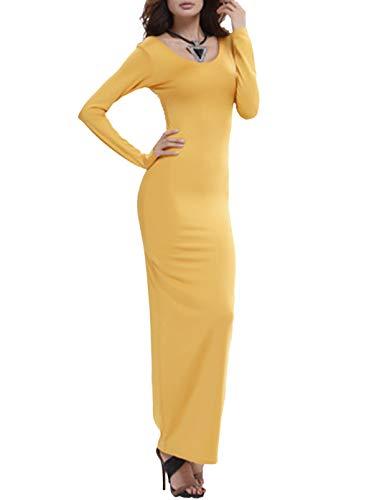Vestido maxi de color sólido para mujer, cuello redondo, manga larga, ajustado, ajustado, vestido de playa