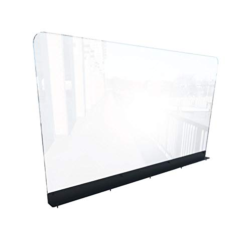 Sneeze Guard for Restaurants (44'W x 24'H), Plexiglass Shield Booth Partition, Clear Acrylic Plastic Barrier for Restaurant Booths, Top Mounted, Easy Install, Includes All Hardware [Made in USA]