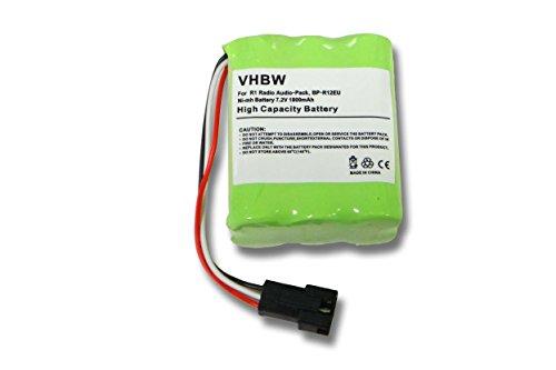 vhbw batería Compatible con Teac Dab-Radio, MP3, MP4, R1, R-1, R2, R-2, R5, R-5, Radio, Transistor-Radio Radio Digital (1800mAh, 7,2V, NiMH)