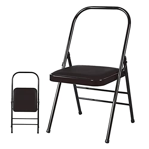 HOSEOKA Yoga Chair with Back Support Yoga Equipment Metal Folding Chair, Balance Handstand Strength Training Tool, Multi-Function