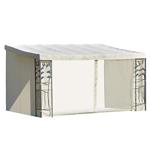 Outsunny Cenador 4x3 m Montado en la Pared con Cortinas Laterales Malla con Cremallera 4 Orificios de Drenaje para Exterior Fiestas Eventos Beige