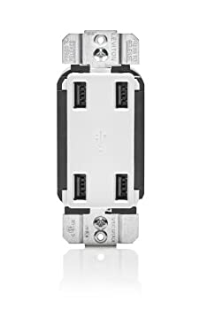 Leviton USB4P-W 4.2-Amp High Speed 4-Port USB Charger White