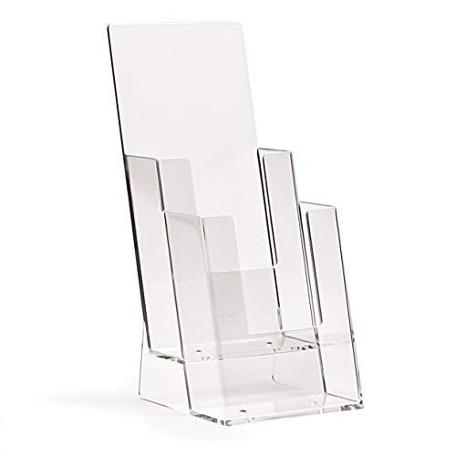 taymar Tisch-Prospektständer, Flyerständer im DIN Lang (DL) A6 Format auf zwei Etagen