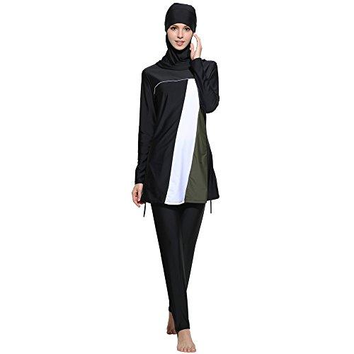 Muslimische Frauen Bademode islamische kurze Ärmel Top+Hose, Badeanzug, Muslimische Mode Casual Patchwork Farbblock-Bademode, X-Large, schwarz