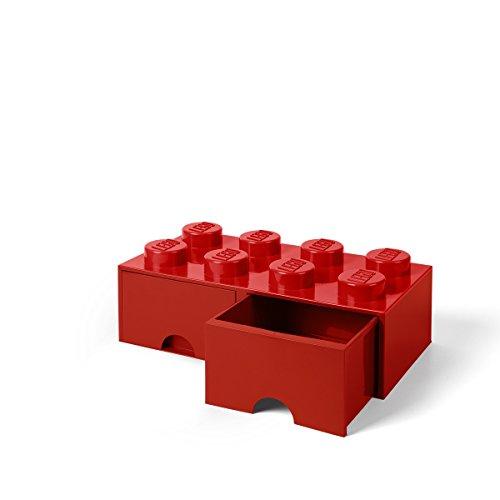 Room Copenhagen-40061730 Caja de Almacenaje Apilable, Ladrillo 8 pomos, 2 Cajones, 9.4 l, color rojo (red), 50 x 25 x 18 cm (Lego 40061730)