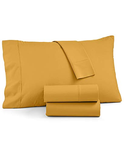 AQ Textiles York 4 Piece Sheet Set Queen 600 Thread Count Cotton Blend Fits Mattresses Up to 18 Inches, Gold
