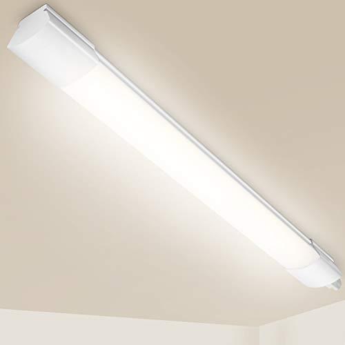 Oeegoo Feuchtraumleuchte Led 60CM, 14W 1400Lm Werkstattlampe IP65 LED Röhre Deckenleuchte, LED Wannenleuchte für Küchen Garage Bad Keller Lager Werkstatt Garten, Neutralweiß 4000K