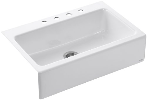 Best Deals! KOHLER K-6546-4-0 Dickinson Apron-Front, Tile-In Kitchen Sink, White