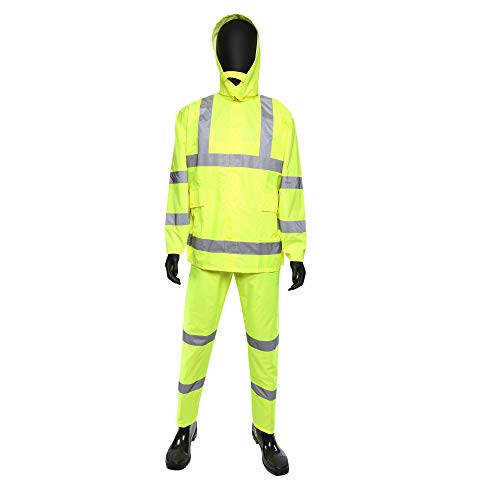West Chester 4033 HI-VIS Rain suit - X Large 3 Piece Lime Green Rain suit, Poly Oxford Material with PU Coating. Safety Work Wear