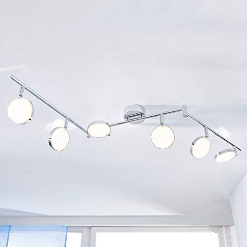 Lindby LED Deckenlampe 'Keylan' (Modern) in Chrom aus Metall u.a. für Wohnzimmer & Esszimmer (6 flammig, A+, inkl. Leuchtmittel) - Deckenleuchte, Wandleuchte, Strahler, Spot, Lampe, Wohnzimmerlampe