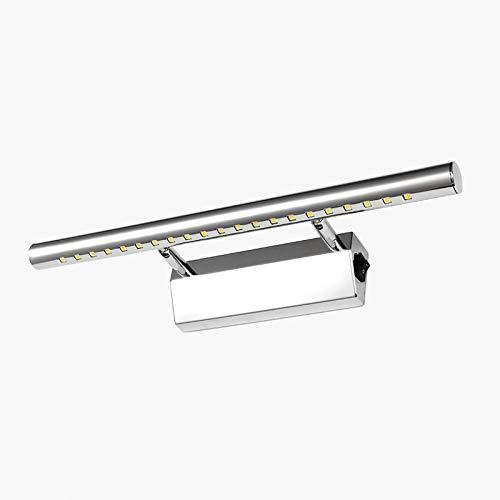 Dailyart 5W LED Lampara de Baño Luz Espejo Baño Luz Pared Baño de Acero 180°Ángulo Ajustable Acero Inoxidable Luz Para Espejo de Baño con Interruptor 40 x 5 x 10,5 cm